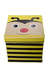 Kid s Yellow and Black Bumble Bee Storage Box and Toy Organizer with Lid