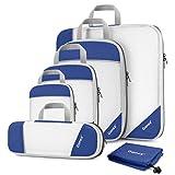 Gonex Sac Organisateur Rangement de Valise Bagage Sac Compression pour Voyage Maquillqage Vêtement Lot de 6 Bleu Foncé