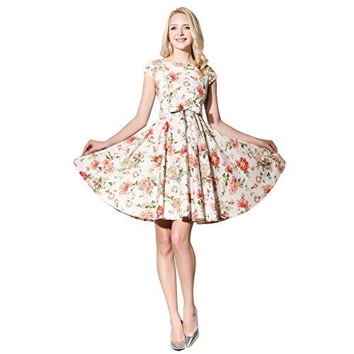 FiftiesChic Damen Cocktail Kleid Gr. 42, cremefarben/Blumenmuster