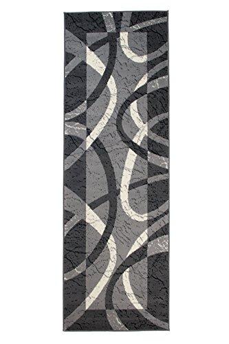 Carpeto Modern Läufer Teppich Grau 80 x 300 cm Wellen Muster Kurzflor Monaco Kollektion