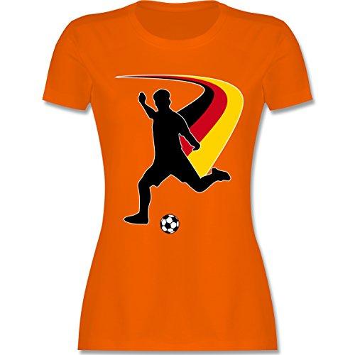 EM 2016 - Frankreich - Fußballspieler + Deutsche Flagge - tailliertes Premium T-Shirt mit Rundhalsausschnitt für Damen Orange