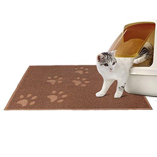 Todeco - Caja de Arena para Gato, Tapete Impermeable para Animales - Tamaño Plegado: 31,5 x 13 x 13 cm - Material: PVC - 90 x 60 cm, Marrón