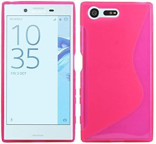 ENERGMiX S-Line TPU SchutzHülle kompatibel mit Sony Xperia XCompact Silikon Hülle Cover Case Bumper Gummi-Hülle in Pink Pink Gummi Case