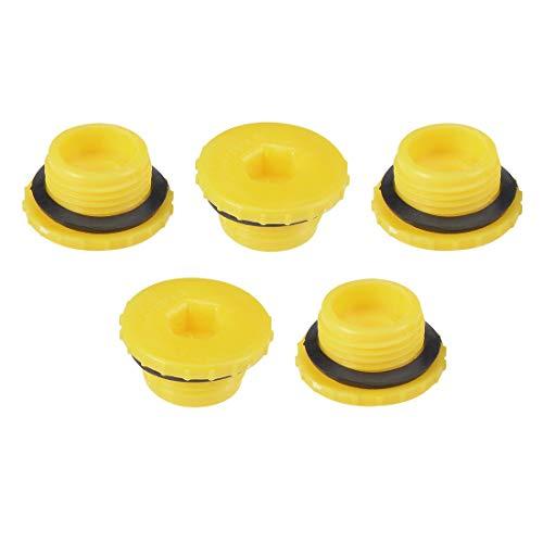 Male Threaded Plug (ZCHXD Hold Plugs,MLD-M18 M18 Hex Socket Design PE Plastic Male Threaded Sealing Cap Yellow 5pcs)