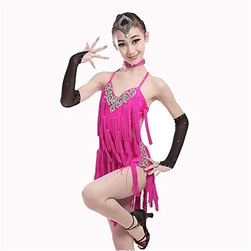 Zhangcaiyun Tango Tanzkleid Outfits Mädchen Kinder Kinder Fringe Performance Ballsaal Kostüm Salsa Tango Quaste Latin Dance Dress Flapper Kleid Kostüm (Farbe : Rosa, Größe : ()