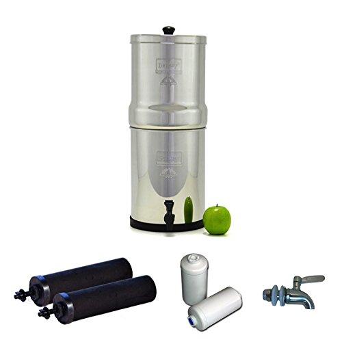 Berkey Edelstahl Wasser Filtration System W/Edelstahl Spigot/2schwarz Filter/2-Fluorid Filter