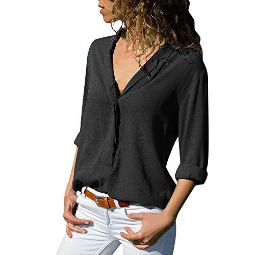XuxMim Damen Mädchen Sommer Casual Große Größe Print Tees Rundhals Shirt Kurzarm T-Shirt Top Bluse(Schwarz-3,X-Large) -