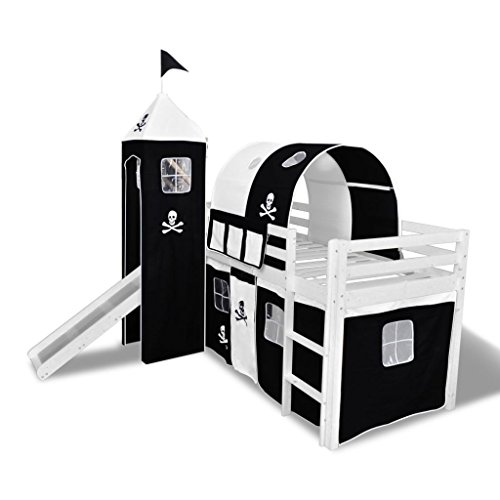 Offre de prix vidaXL Lit Mezzanine d'Enfants avec Toboggan et Echelle Bois Noir et Blanc
