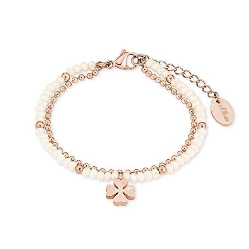 s.Oliver Damen-Armband mit Kleeblatt-Anhänger Edelstahl IP Rose Beschichtung mehrreihig Glassteine Light Peach (Armband Mit Glücksbringer)