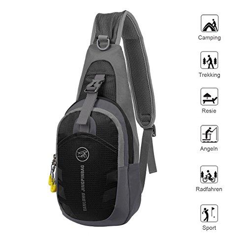 Bapack Schultertasche, Herren Damen Umhängetasche Klein Brusttasche aus Nylon mit Unisex Basics Outdoor Multifunktion Schulterbeutel- Grau