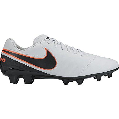 Nike Tiempo Genio Ii Leather Fg, Scarpe da Calcio Uomo Bianco (Pure Platinum/Black-Hypr Orng 001)