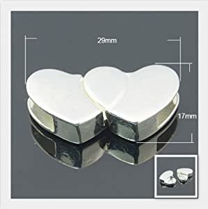 Angel Malone 1 x Premium Flat Leather Glue In HEART Shaped Super Strong Magnetic Clasp.