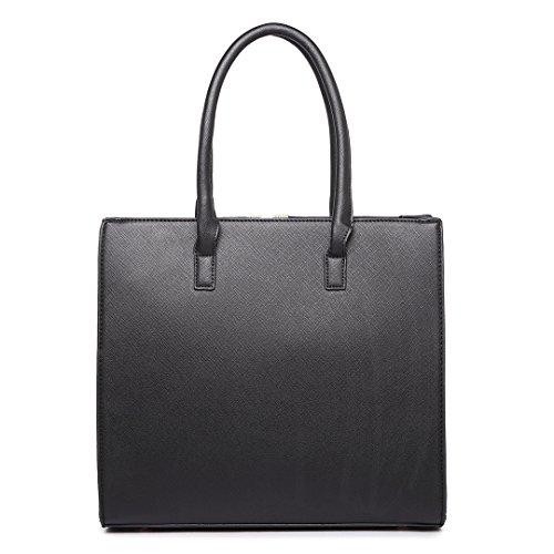 Miss Lulu , Damen Schultertasche M Kleine Ledertasche Shopper Handtasche Faux Leder Schwarz / Weiß 1666 Black