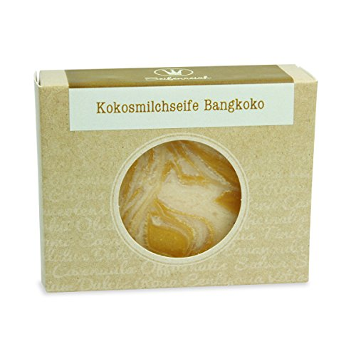 Pflanzenöl-seife (Seifenreich Zitronengras Kokosmilch Seife Bangkoko | Naturseife mit Lemongrass und Sheabutter | handgemachte Seife | Naturkosmetik | BIO zertifizierte Pflanzenöle | vegan | 100 g)