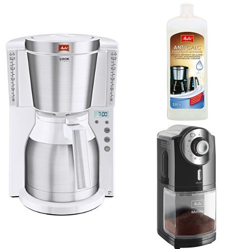 Melitta Kaffeefiltermaschine + Melitta 192618 Flüssigentkalker + Melitta 1019-02 Kaffeemühle...