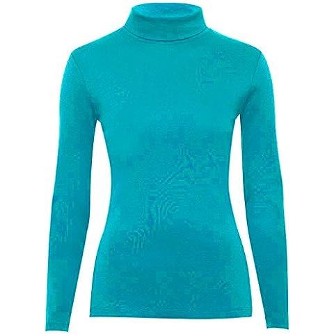 Para mujer Plain para el cuello de tortuga de manga larga Polo para el cuello Jersey traje de neopreno para mujer en la parte superior y papel de costura para camisetas de mujer 8-26