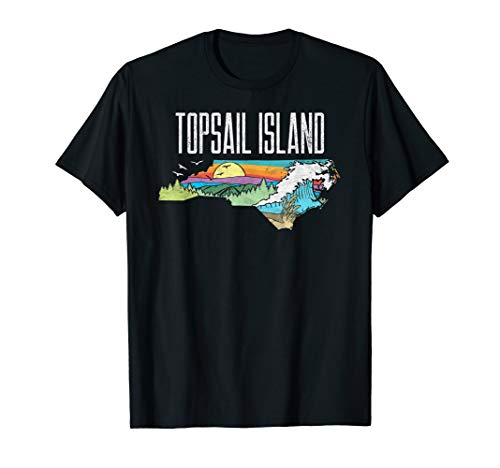 Topsail Island State of North Carolina Outdoors Graphic  T-Shirt -