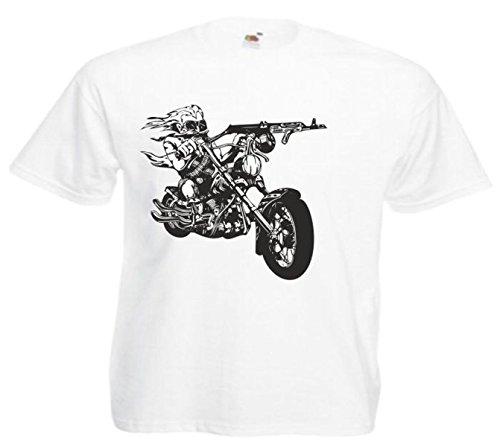 Motiv Fun T-Shirt Biker Motorrad Chopper Rocker Route 66 Harley Motiv Nr. 10202 Weiß
