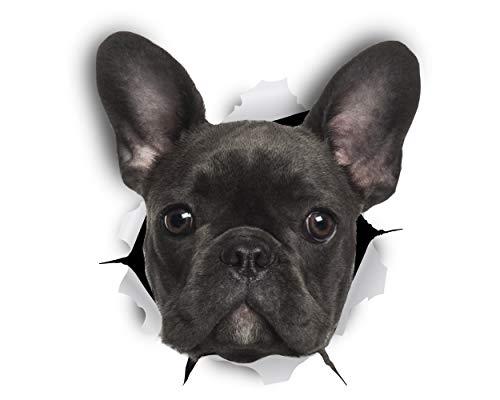 Winston & Bear Perro 3D adhesivos - Pack 2 - Bulldog Francés negro Stickers para pared, pegatinas de Frenchie de nevera