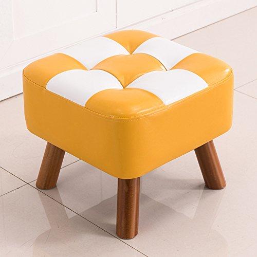 Yq whjb poggiapiedi imbottito,moderna sgabello poggiapiedi,quadrata tonda divano basso letto panca fine ecopelle ottomano cambiare scarpa panchina-4 gambe in legno-b