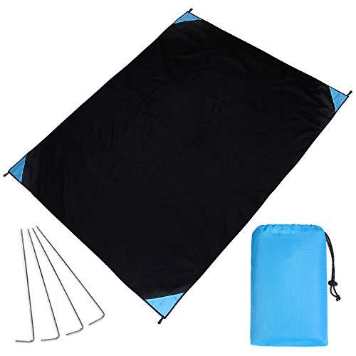 Nasharia Picknickdecke XL Outdoor Picknick Decke I Stranddecke, wasserdicht, Ultraleicht, 200 cm x 170 cm, in Schwarz/blau, Kleines Packmaß - Ideal für Reisen und Camping -