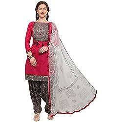 EthnicJunction Women's Dress Material (EJ1180-88008_Barbie Pink_Free Size)