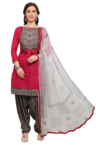 EthnicJunction Women's Dress Material (EJ1180-88008_Barbie Pink_Free Size)