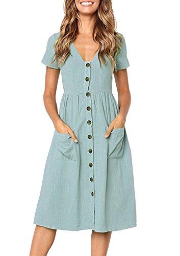 Lantch Sommerkleider Damen Kurzarm V-Ausschnitt Strand Kleider Elegant Vintage Abendkleid Knielang