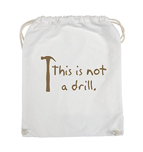 Comedy Bags - This is not a drill - HAMMER - Turnbeutel - 37x46cm - Farbe: Schwarz / Silber Weiss / Hellbraun