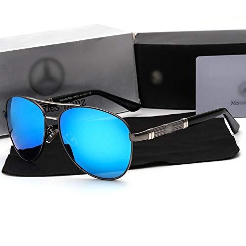 WULE-RYP Polarisierte Sonnenbrille mit UV-Schutz Mode im Freien Fahren Angeln HD polarisierte Gläser für Männer Superleichtes Rahmen-Fischen, das Golf fährt (Farbe : Gun Silver/Blue)