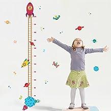 Wallpark Espacio Universo Planeta Volador Platillo Cohete Altura Pegatinas de Pared, Gráficos de Crecimiento Medida Desmontable Etiqueta de la Pared, Niños Infantiles Vivero DIY Decorativas Murales