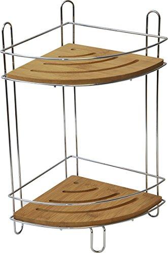 Scaffale d'angolo a 2 piani, modello piccolo, in bambù e metallo cromato