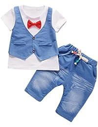 Jimmackey Neonato Bambino Camicia Bowknot Giacca T-Shirt Cime + Pantaloni  Gentiluomo Abiti Set 5b7eba6e0a3