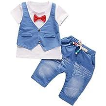246ea2d16edbd Jimmackey Neonato Bambino Camicia Bowknot Giacca T-Shirt Cime + Pantaloni  Gentiluomo Abiti Set