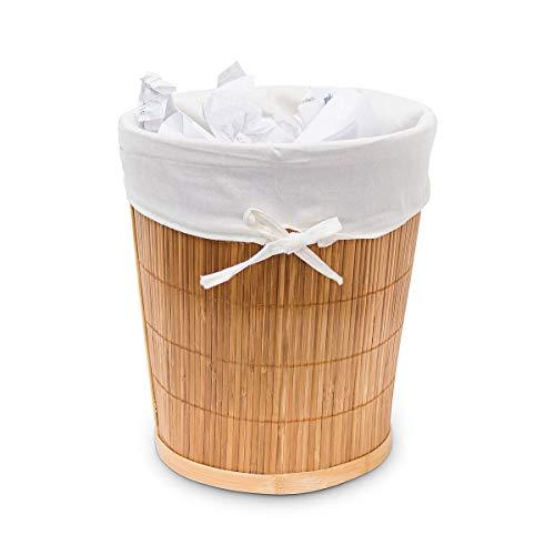 Papierkorb aus Bambus mit Stoffeinlage