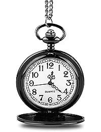 Reloj de Bolsillo Reloj de Bolsillo de Cuarzo Vintage Reloj de Bolsillo clásico de Cara Suave con Cadena Corta…
