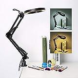 lahomie 5X Desk Magnifier Lamp, Clamp Desktop LED Lampada da Lettura Pieghevole Desktop Magnifying Beauty Lampada Manicure Tattoo, Ricarica USB
