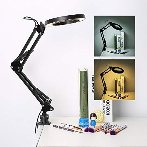 lahomie 5X Schreibtischlupe Lampe, Clamp Desktop LED Leselampe Klapp Desktop Lupe Schönheit Lampe Maniküre Tattoo, USB-Aufladung (Led-desktop-lupe)