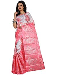 Sarees New Collection Latest Sarees Women's Art Silk Saree (White And Pink) (Saree Centre Sarees For Women Party...