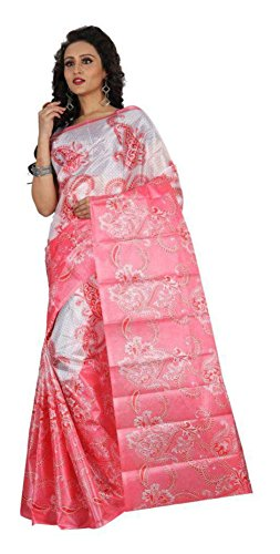 Sarees New Collection Latest Sarees Women's Art Silk Saree (White and Pink) (Saree Centre Sarees For Women Party Wear Offer Designer Sarees For Women Latest Design Sarees New Collection Saree For Women Saree For Women Party Wear Saree For Women In Latest Saree With Designer Blouse Free Size Beautiful Saree For Women Party Wear Offer Designer Sarees With Blouse Piece)  available at amazon for Rs.288
