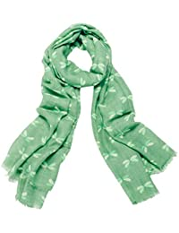 Green Spotty Dragonfly Print Wide Scarf
