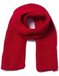 06cbb14f732f Kamiwwso Épaisse Laine épaisse de Couleur Unie à la Main épaissie Couple  écharpe en Tricot pour Hommes et Femmes (Color   Red, Size…