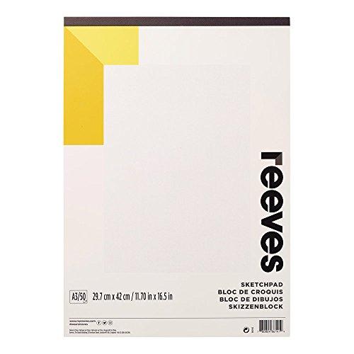 Reeves 8490942 Skizzen & Zeichenblock, 50 Blatt Zeichenpapier, säurefrei weißes Papier 150 g/m² - A3