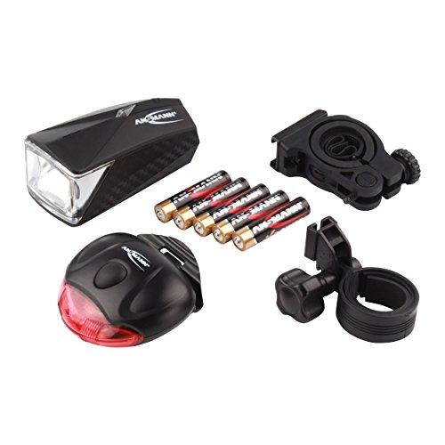 ANSMANN LiteRider Fahrrad-Licht Set LED (Vorder- & Rücklicht, 2 Halterungen, 5x AAA Batterien) StVZO 22A/TA23 zugelassen