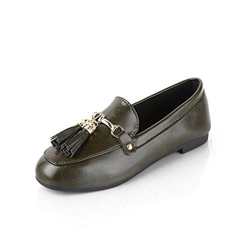 XTIAN , chaussons d'intérieur femme Armee-Grün Leder