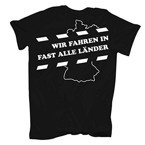 Männer und Herren T-Shirt Auf Achse (mit Rückendruck) Körperbetont schwarz