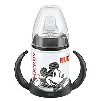 NUK 10215074 - First Choice Trinklernflasche Disney Mickey Motiv 150 ml schwarz aus PP,  mit Soft-Trinktülle aus Silikon, auslaufsicher
