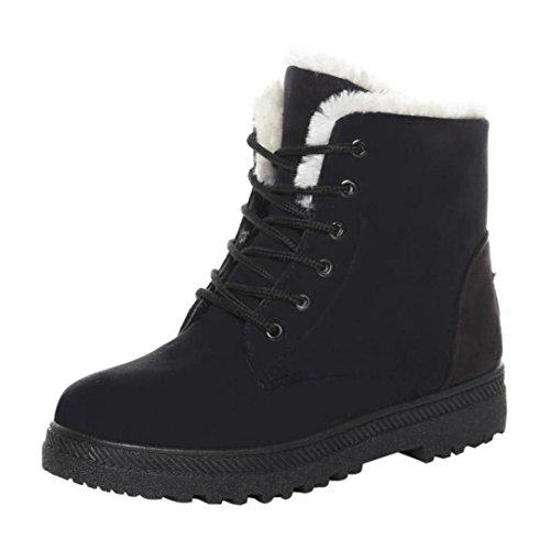 Bottines femme Kolylong Classique Les bretelles De plus le coton Chaud Bottes de neige 2016 Hiver Chaussures (38/23.5-24cm, Noir)