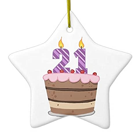 Christmas Ornaments Age 21 on Birthday Cake Holiday Tree Ornament Both Sides Star Ceramic Ornament Crafts Christmas Gifts