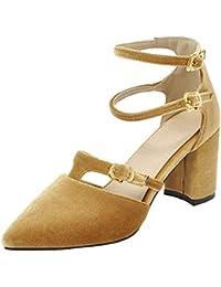 Coolulu Mujer Zapatos de Tacón Alto y Cuadrado Puntiagudo Comodo Correa de Tobillo con Doble Hebillas